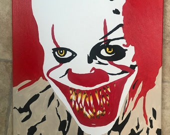 Bill Skarsgard as Pennywise the clown ORIGINAL Painting
