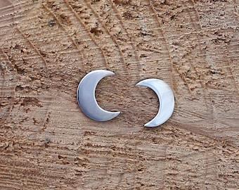 Crescent moon stud Earrings, Handmade Sterling Silver, Moon earrings, Moon studs, Astronomy jewelry, Horoscope jewelry, Moon jewelry