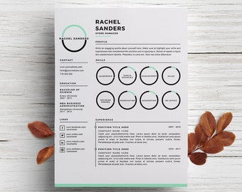 creative resume template cover letter template for word diy printable 3 pack retail manager modern and creative design