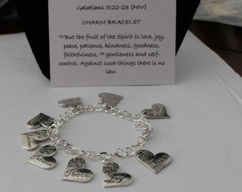 Fruits of the Spirit charm bracelet, Tibetan silver. Christian Inspirational Bible verse jewelry