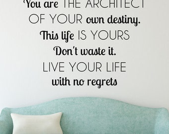 Wall Quote Decal No Regrets Inspirational Motivational New