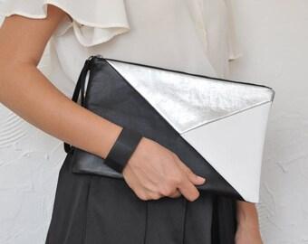 Leather Clutch, Leather Handbag, Evening Clutch, Geometric Clutch, Clutch