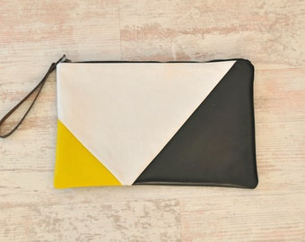 Leather Clutch, Leather Handbag, Geometric Clutch
