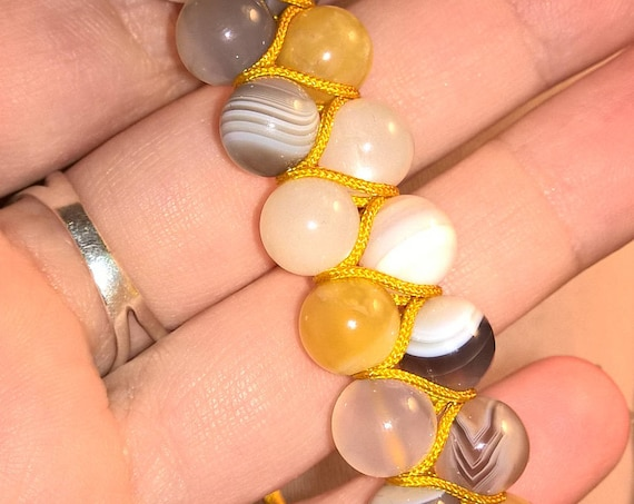 Botswana Agate with Moonstone and Honey Opal (8mm, double row, adjustable)