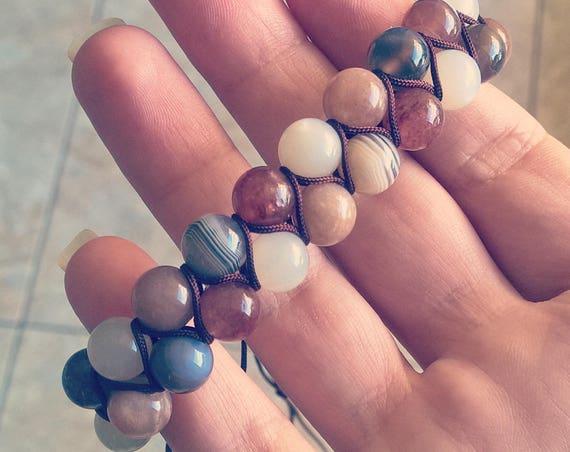 Botswana Agate, Muscovite, Orange and White Moonstone Gemstone Bracelet (adjustable)