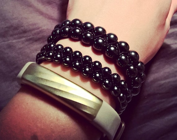 Noir Hematite adjustable gemstone bracelet (6mm and 8mm available, double-row)