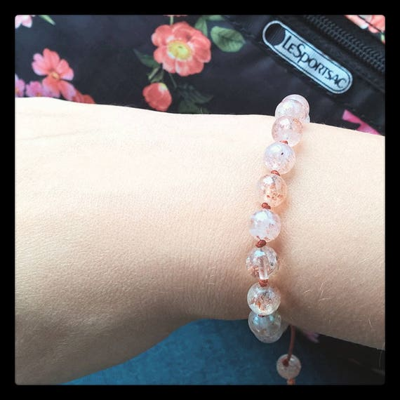 Orange Lepidochrosite in Quartz Gemstone Bracelet (Single)