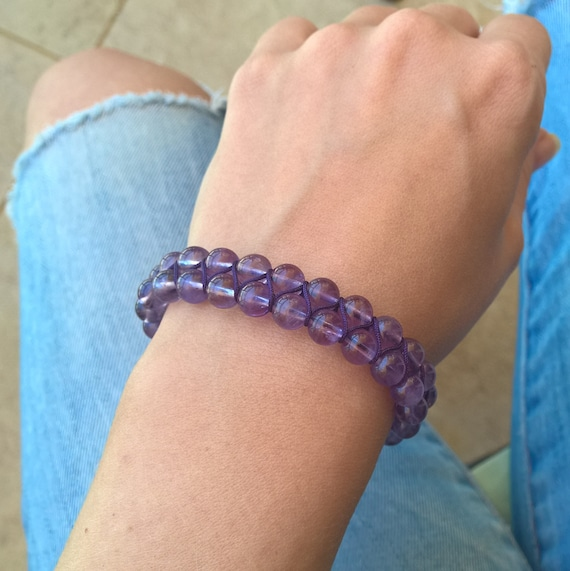 Lavender Amethyst gemstone bracelet with sage amethyst ends (7mm stones, double-row, adjustable)