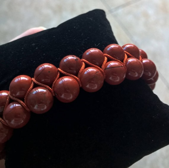 Rust Red Jasper gemstone bracelet (8mm, double-row, adjustable)