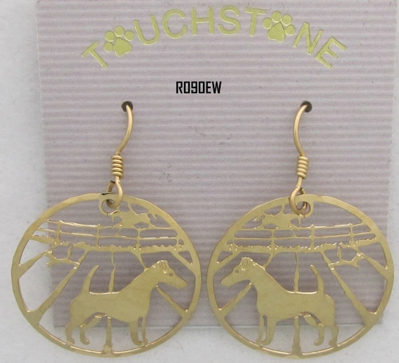 Akita  Jewelry Gold Dangle  Earrings by Touchstone Dog Designs