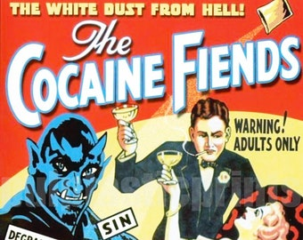 Cocaine fiends  vintage Film poster reproduction.