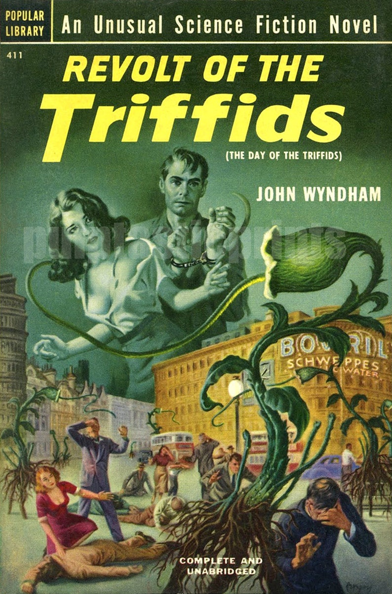 sci fi pulp art print Revolt of the Triffids — pulp paperback cover repro