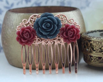 Navy Blue Burgundy Red Masala Maroon Red Rose Gold Flower Hair Comb Bridesmaids Gift Flower Girl Comb Burgundy Wine Blue Bridal Wedding Comb