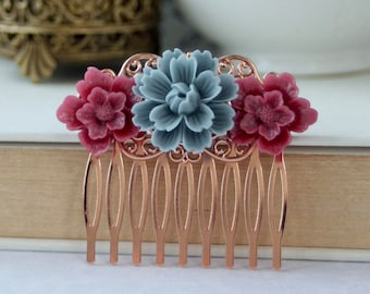 Dusty Blue Burgundy Red Rose Gold Flower Hair Comb Bridesmaids Gift Flower Girl Comb Burgundy Wine Dusty Blue Bridal Dusty Blue Wedding Comb