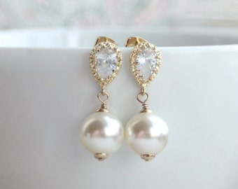 Ivory Cream Swarovski Pearls, Gold Cubic Zirconia Ear Post Earrings. Large Ivory Pearl Wedding Bridal Blush Champagne Bridesmaid Gift.