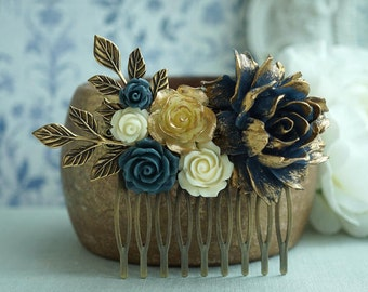 Floral Hair Piece Navy Gold Wedding Gold Tipped Rose Hair Comb Vintage Style Antique Gold Branch Bridal Comb For Bridesmaids Something Blue