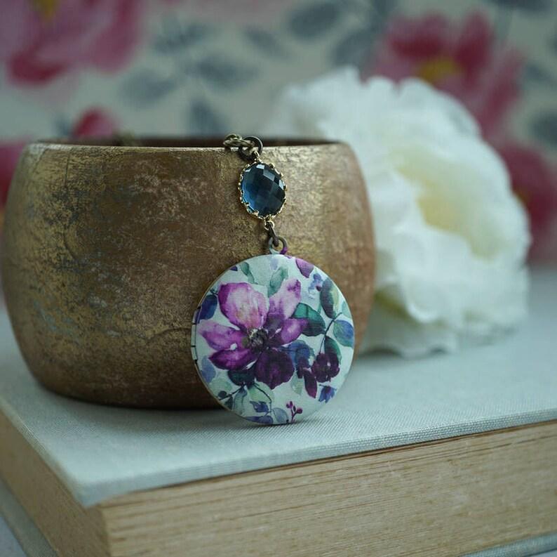 Purple Flowers Locket Round Locket Blue Floral Locket Romantic Florals Bridesmaids Gift Handmade Locket Christmas Gift Black Friday Sales