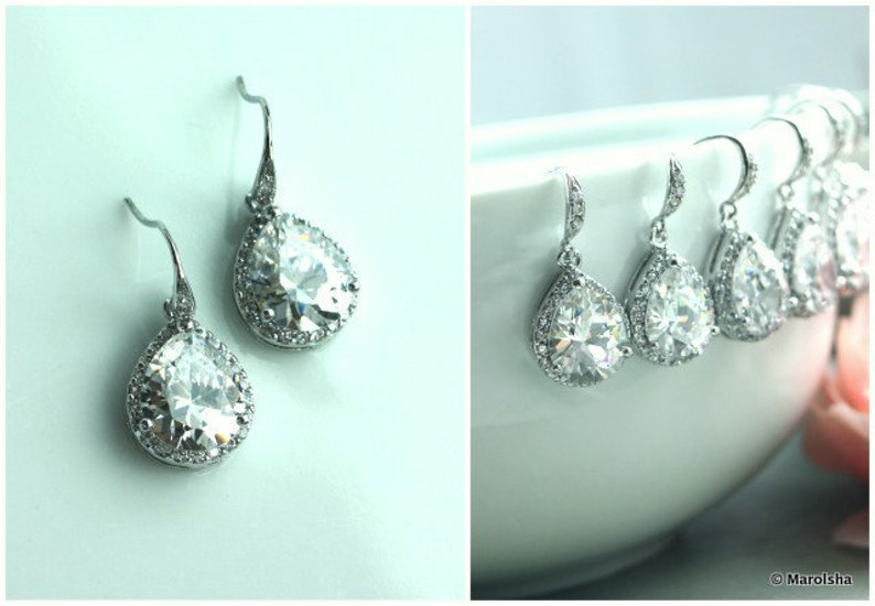 15/% OFF Set of Twelve 12 pairs Pear Teardrop LARGE LUX Cubic Zirconia White Crystal Wedding Earring,Wedding Bridal Gift Bridesmaid Earring