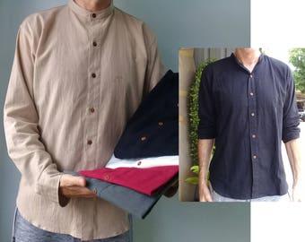 381813882a6 M Mandarin Collar Shirt Chinese Collar Linen Look Summer Smart Casual  Cotton Wood Button Long Sleeve Size Medium