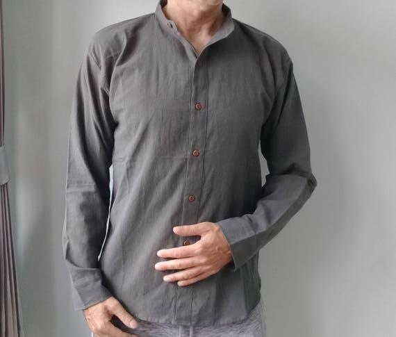 2XL col Mao chemise chinoise aspect lin d'été chic décontracté bois coton bouton en bois décontracté à manches longues 47a9d7