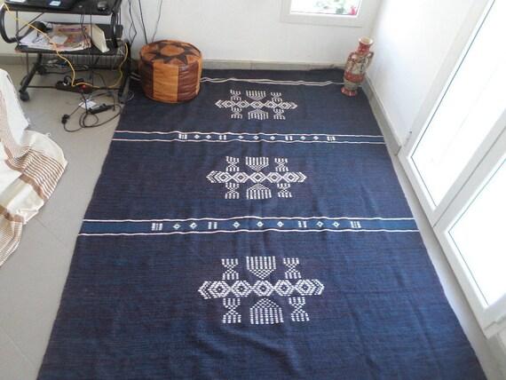 Tappeti Kilim Tunisini : Tunisino berbero lana fatto a mano kilim tappeto mergoum blu etsy