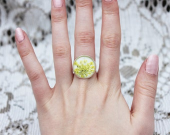 Yellow pressed flower ring