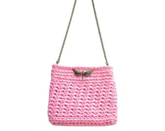 Summer Knit bag. Pink crochet bag. T shirt yarn bag. Handmade pink bag. Every day Bag. Crossbody bag. Shoulder bag. Women bag. Evening bag