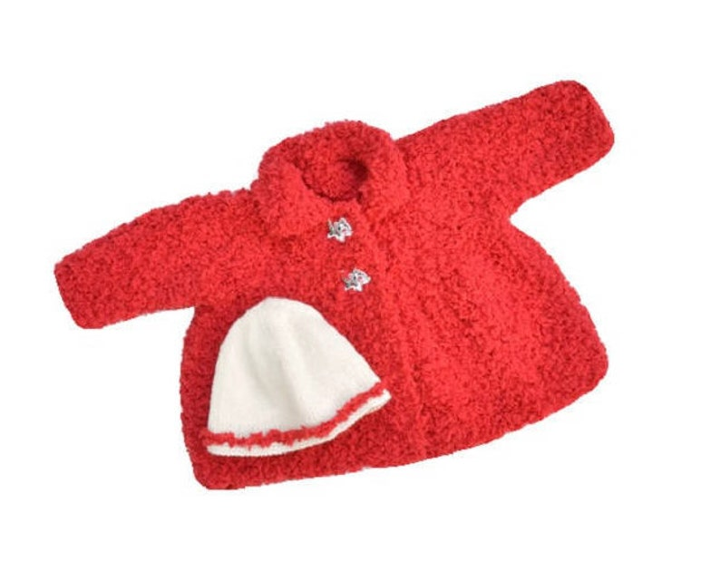 8323def60ce9 Knitted red baby girl coat and hat very soft and warm there