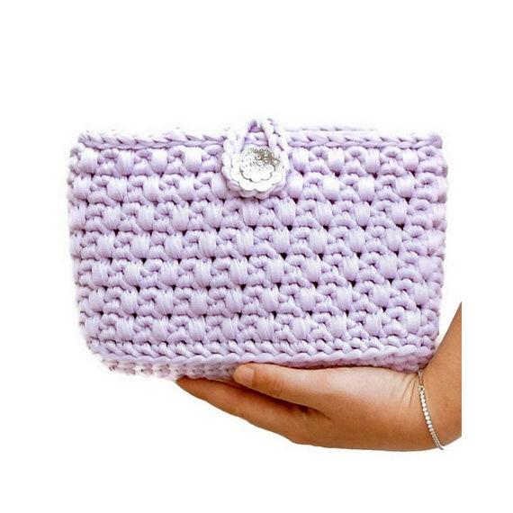 fiesta clutch para hecho bolso lila mano ganchillo regalo clutch lila Bolso mano bolso mujer mano a joven trapillo fiesta lila bolso q7PznxYwZg
