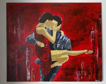 Modern Art Dancing Figure Couple Abstract Lovers Painting Original Acrylic Textured Painting on Canvas Figure Painting