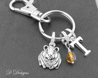 Guinea pig keyring with initial gifts bag charm