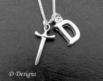 Dagger Necklace, Sword Necklace, Personalised Weapon Jewellery, Personalised Necklace, Sterling Silver Necklace, Dagger Pendant