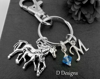 Horse and Foal Bag Charm KeyRing, Personalised Pet Animal Clip Pony Jewellery Gifts