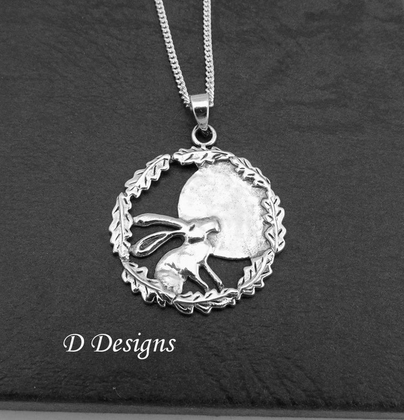 Hare Necklace Sterling Silver Moon Gazing Hare Pendant Jewellery