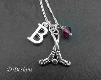 Hockey Necklace, Sterling Silver Hockey Pendent, Personalised Sporty Necklace, Sport Jewellery,  gifts for Hockey Lovers