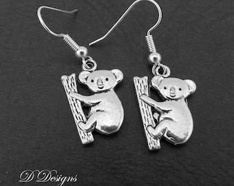 Koala Bear Earrings Sterling Silver