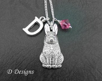 Easter jewellery etsy rabbit necklace sterling silver rabbit pendent personalised bunny necklace easter jewellery gifts negle Image collections
