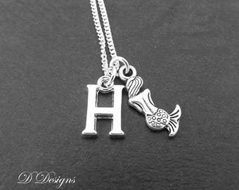 Mermaid Necklace, Mermaid Pendant, Beach Necklace, Personalised Mermaid Jewellery, Personalised Mermaid Necklace, Mermaid Gifts