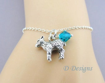 Easter jewellery etsy lamb bracelet sterling silver birthstone bracelet sheep bracelet easter jewellery nature lovers negle Image collections