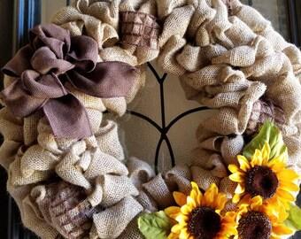Sunflower wreath with bow