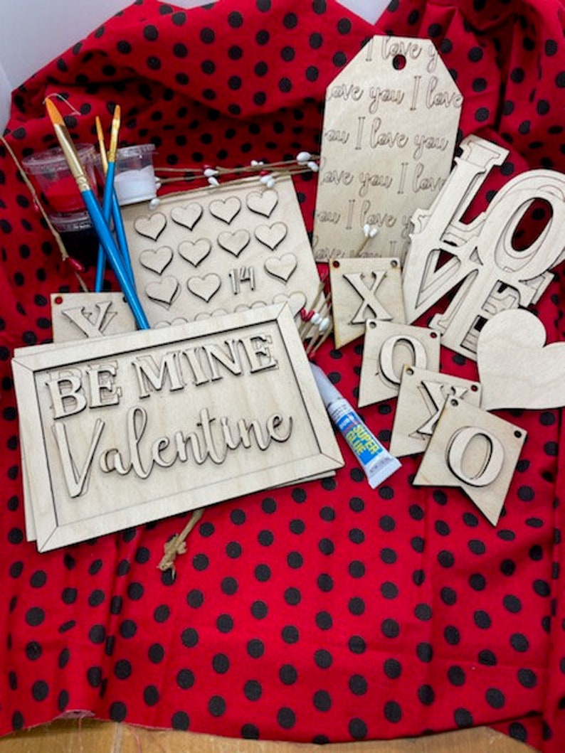 Unfinished wood DIY KIT  Be My Valentine for Tiered Tray