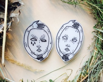mask yourself pin * shrinky dink* handmade