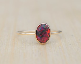 Red Opal Ring, Black Cherry Opal Ring, Fire Opal Ring, Gold Opal Ring, Delicate Ring, Stacking Ring, Stacking Opal Ring, Gold Filled Ring