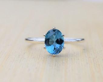 London Blue Topaz Ring, Blue Topaz Ring, Sterling Silver Ring, London Topaz Ring, Promise Ring, Engagement Ring, Gift for Her