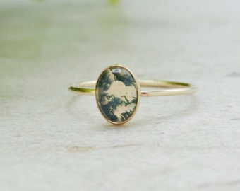 Large Stone Ring Chunky Sterling Silver Ring Moss Agate Ring Bohemian Statement Ring Dendritic Agate Ring Alternatibe Cocktail Ring,