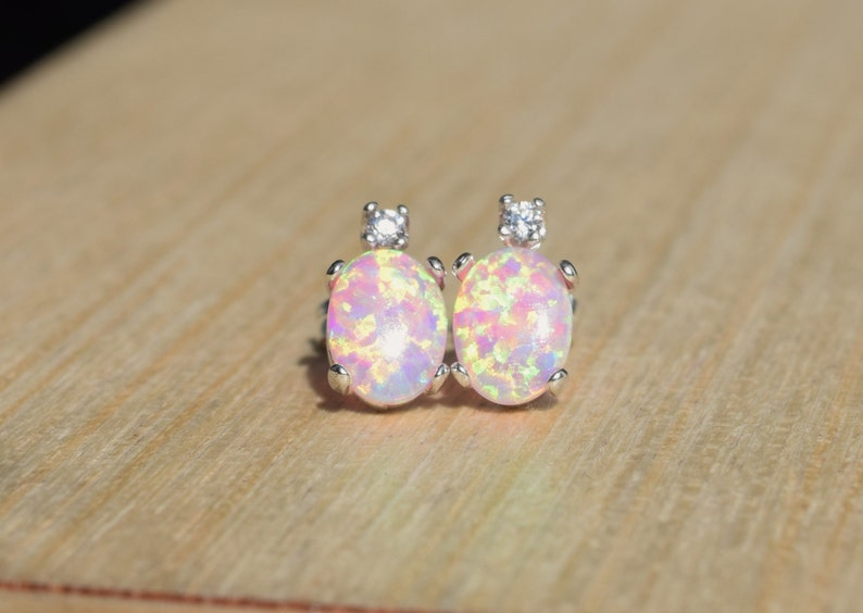 e60fcc640f44e Pink Opal Earrings, Opal Earrings, Sterling Silver Opal Studs, Wedding  Earrings, Birthstone Earrings
