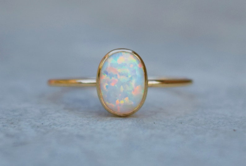 Gold Opal Ring Opal Ring Gold Ring Delicate Gold Ring White