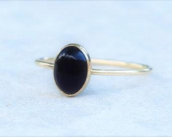 Black Onyx Ring, Gold Onyx Ring, Stacking Ring, Stacking Onyx Ring, Black Ring, Gold Black Ring, Energy Ring