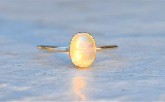 Gift for Her 925 Solid Sterling Silver Ring Natural Moonstone Ring Gemstone Ring Blue Fire Moonstone Ring 22k Gold Fill Rose Gold Ring