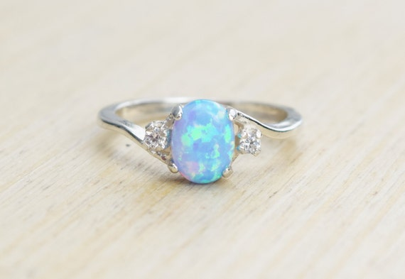 Antique Black Opal And Diamond Ring